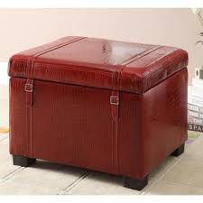 broyhill faux leather storage ottoman in red crocodile home