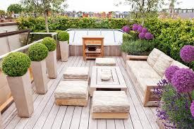 modern outdoor planters patio contemporary with black sofa wicker