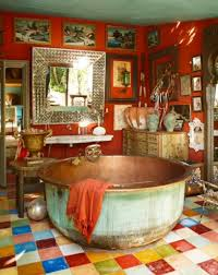 bohemian bathroom decor floor tiles design ideas lighting curtains