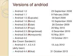 list of android versions presentation on android operating system