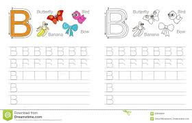 tracing worksheet for letter b stock vector image 62840956