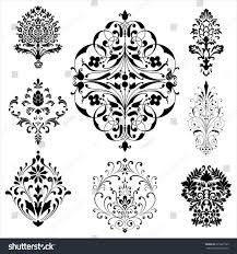 damask ornaments set damask ornaments each stock vector 271837565