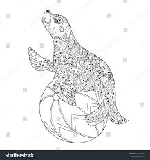 hand drawn doodle outline sea lion stock vector 414966397