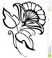 beautiful black white flower hand drawing floral design element