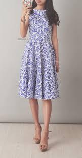 blue white porcelain sleeveless swing dress oasap com clothes