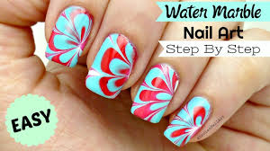 how to do easy water marble nail art step by step tutorial in