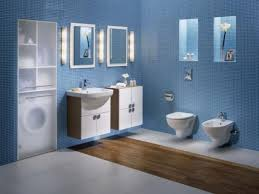 recesses mirror wall hung sink bathroom pinterest blue subway tile