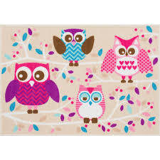 Kids Bedroom Rugs Mainstays Kids Owl Nylon Rug Multi Color 2 U00277
