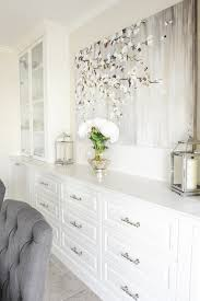 White Sideboard With Glass Doors Built In Sideboard Cabinet Transitional Dining Room