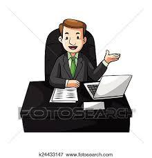 bureau dessin clipart homme affaires bureau dessin animé k24433147