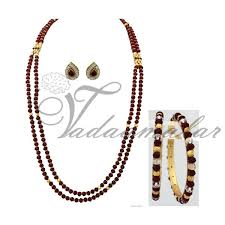 crystal chain necklace images Indian design side pendant with red crystal strand necklace long jpg