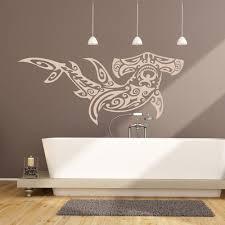 bathroom wall stickers iconwallstickers hammerhead shark tribal design under the sea wall stickers bathroom art decals