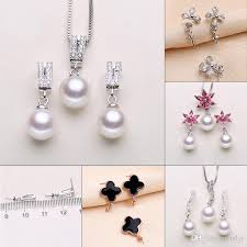 pearl necklace styles images 2018 pearl necklace settings sliver necklace earrings set settings jpg