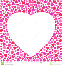 border with bright hearts on white background greeting card