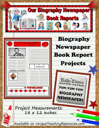 biography book report newspaper templates worksheets and