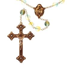 rosary crucifix 5 decade green bicolor glass bead catholic rosary crucifix pendant