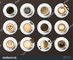 coffee cups assortment top view collection stock vector 569753797