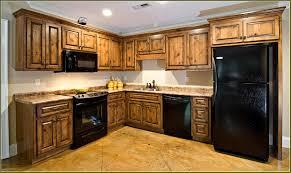 kitchen simple dark cabinet plus refrigerator luxurious small