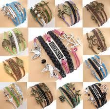 bracelet ebay images Fashion alloy infinity anchor rudder owl leather friendship love jpg