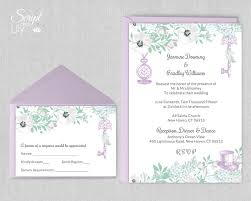 Wedding Invitations With Free Response Cards Mint And Lavender Alice In Wonderland Invitation Template Free