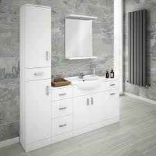 cove bathroom furniture pack 5 piece white gloss bathroom