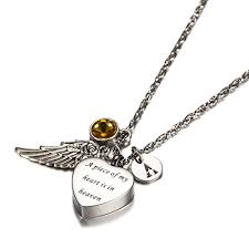 cremation jewlery a of my heart in heaven cremation jewelry initial necklace