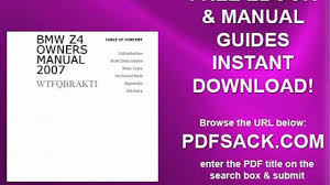 Bmw Z4 Owners Manual 2007 Video Dailymotion