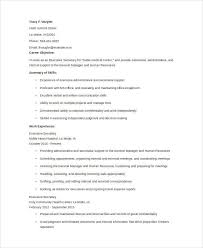 Example Secretary Resume Curriculum Vitae Sample For Executive Secretary