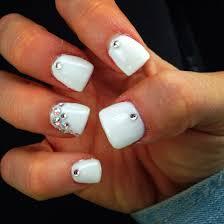 rhinestone sparkle white short acrylics nail art pinterest
