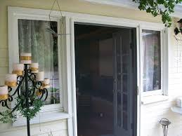 Exterior Design Charming Retractable Screen Door With White Trim