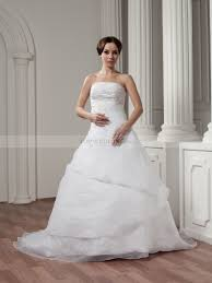 strapless appliqued satin wedding dress with wrap around beading