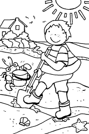 summer vacation coloring pages cleaning the beach line during summer holiday coloring page