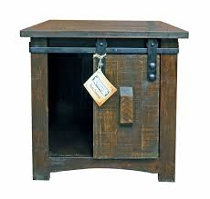 Rustic End Tables Rustic Cut Medium Wax Barn Door End Table Savvy Discount