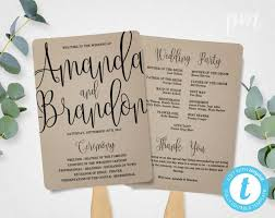 kraft paper wedding programs wedding program fan template calligraphy script printable program