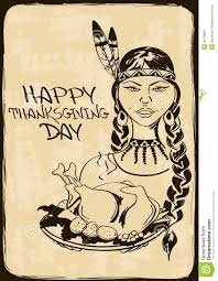 thanksgiving american thanksgiving card with native american indian stock image