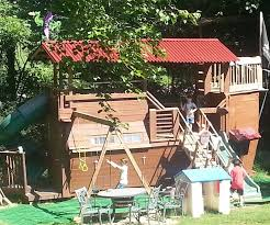 pirate ship playhouse treehouse fort swingset in trouble