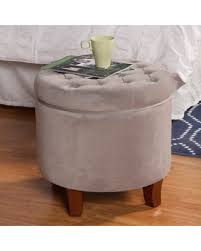 large round storage ottoman spectacular deal on homepop large button tufted round storage