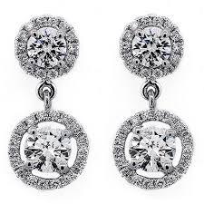 cheap diamond earrings hanging two cut halo diamond earring 98 cts set in