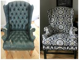 How To Reupholster A Side Chair Reupholstering A Wingback Chair A No Sew Method Noting Grace