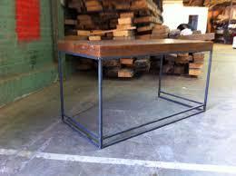 Steel Frame Desk Reclaimed Wood And Metal Desk Made By Wood