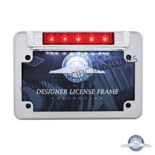 motorcycle license plate frame with led brake light united pacific industries commercial truck division