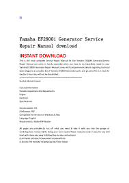 yamaha ef2800i generator service repair manual download