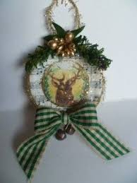homespun christmas ornaments primitive rudolph mini pillow