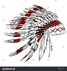 thanksgiving indian chief native american indian headdress feathers sketch stock vector