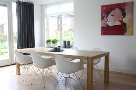 eames inspired dining table modern dining room curtains