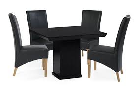 Black Square Dining Table Nero Square Marble Dining Table With 4 Black Leather Dining Chairs