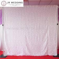 White Satin Curtains 3d Satin Rosette Fabric 10ft 10ft Through White Color