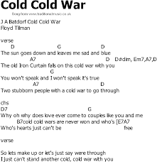country song lyrics with chords cold cold war
