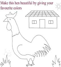 hen and hut coloring page