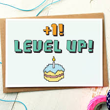 funny birthday card level up gamer birthday card geek